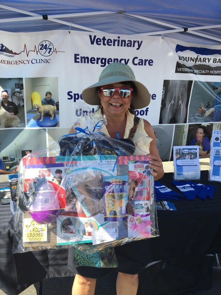 Gift basket winner Boundary Bay Veterinary Specialty Hospital